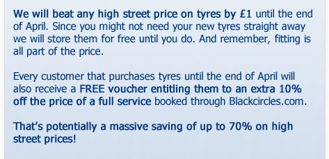 We'll beat ANY high street tyre price